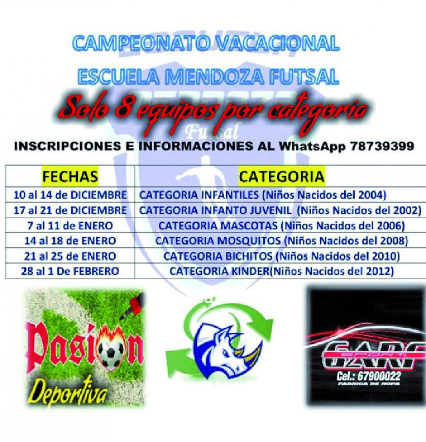 Escuela Mendoza de Futsal convoca a torneo relámpago