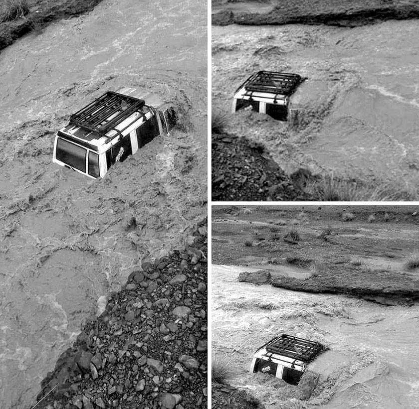 Crecida de río se lleva auto y el conductor salva su vida