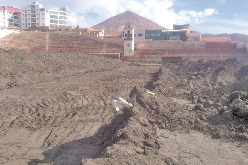 Obra del césped sintético del estadio Potosí está paralizado