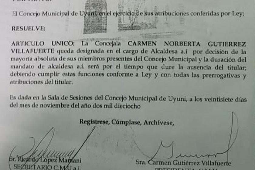 Denuncian intento de golpe en la Alcaldía de Uyuni