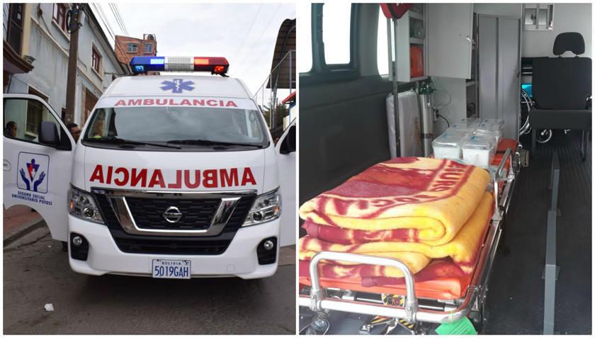 Entregan una nueva ambulancia al Seguro Social Universitario de la UATF