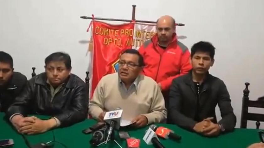 Tarija suspende paro cívico anunciado para este 26 y 27
