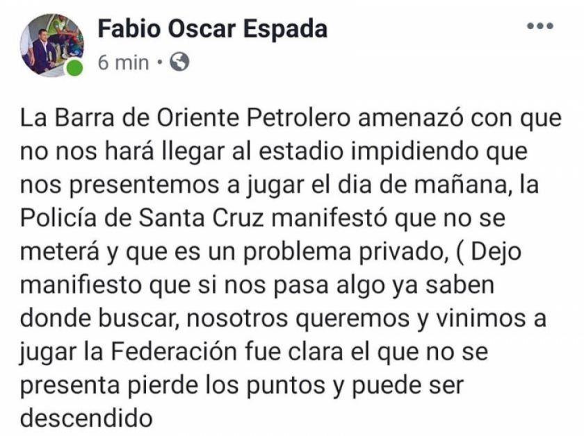 Supuestos hinchas de Oriente amenazan a Real Potosí