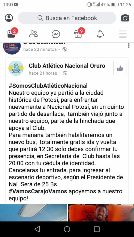 Hinchas de CAN vienen a Potosí para el partido ante Nacional Potosí.