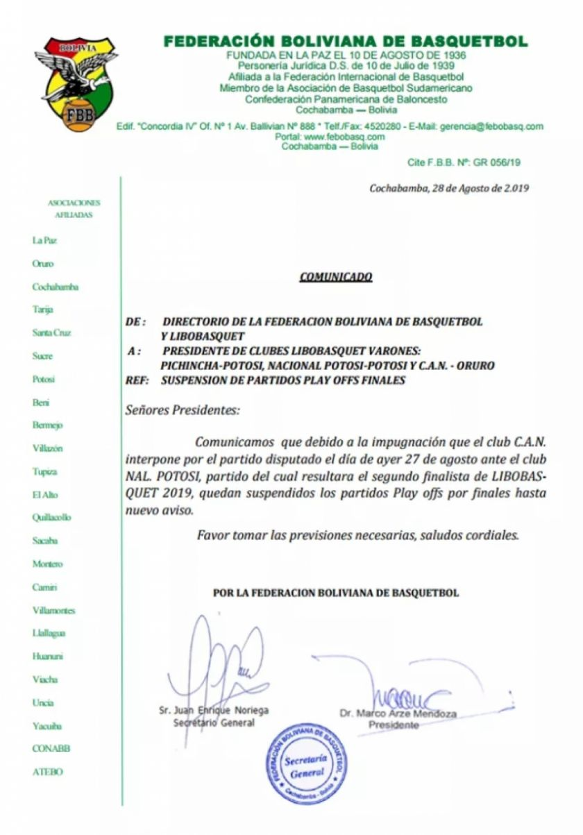 Partidos de la Libo quedan suspendidos
