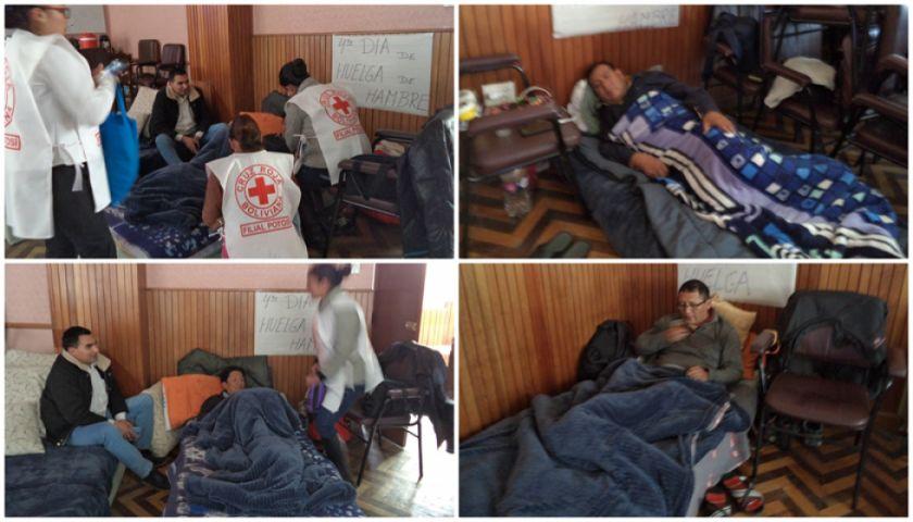 Tres profesionales de la CNS mantienen su piquete de huelga de hambre