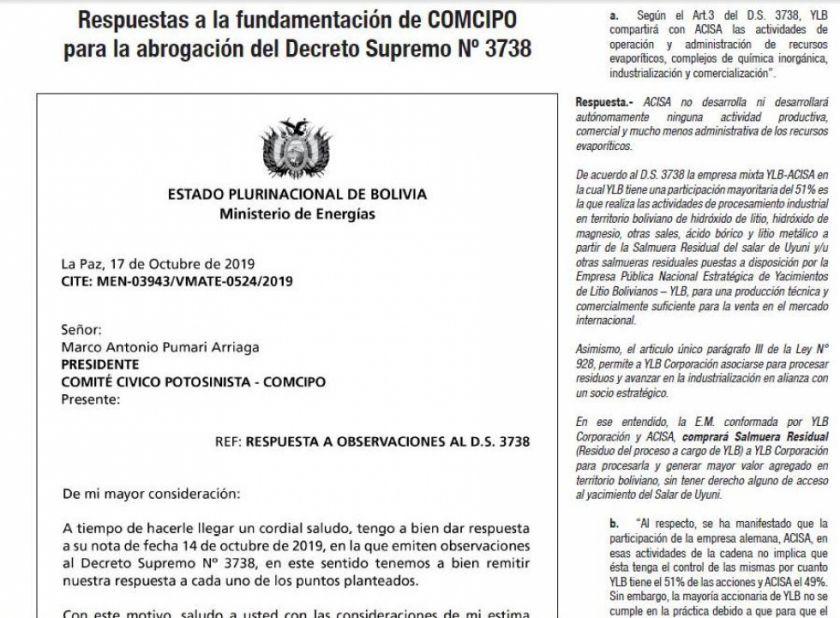 El Potosí publicará mañana la respuesta del gobierno sobre el DS 3738