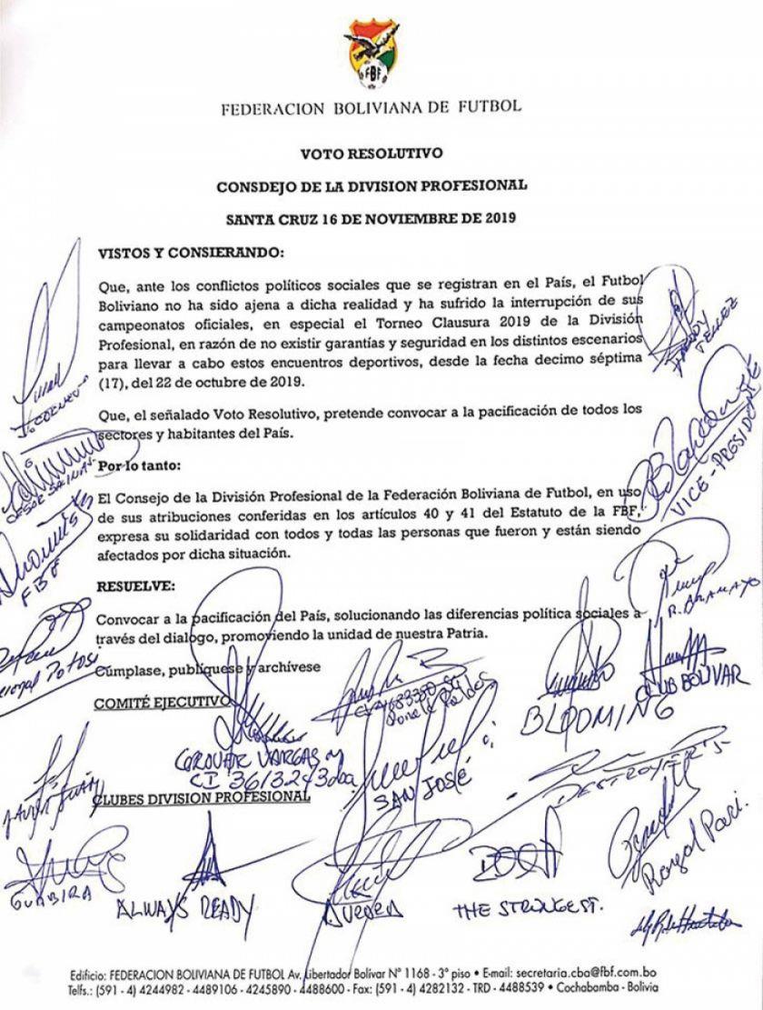 El fútbol boliviano pide la pacificación del país