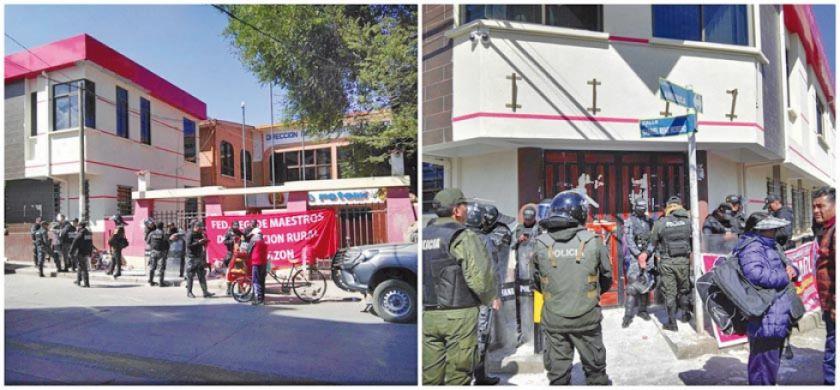 Magisterio rural retira tapiado de las puertas del edificio de la DDE
