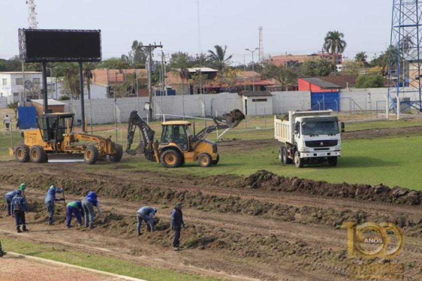 """Obras en el estadio """"Samuel Vaca"""" están detenidas"""