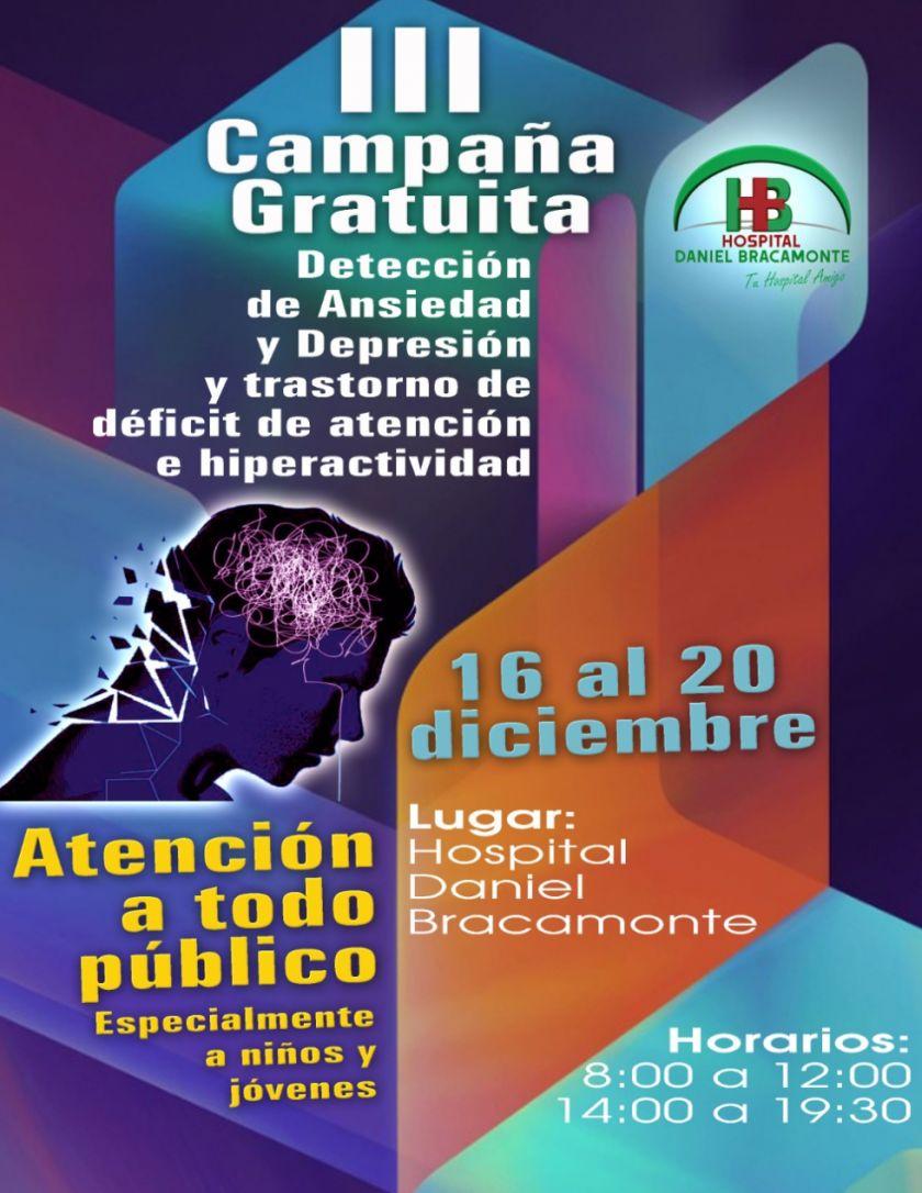 El Hospital Bracamonte lanza campaña de detección de depresión, ansiedad y déficit de atención