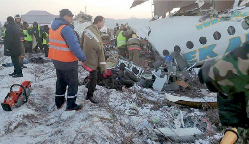 Se accidenta un avión civil en Kazajistán