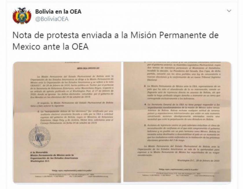 Gobierno de Bolivia envía nota de protesta a Misión Permanente de México ante la OEA