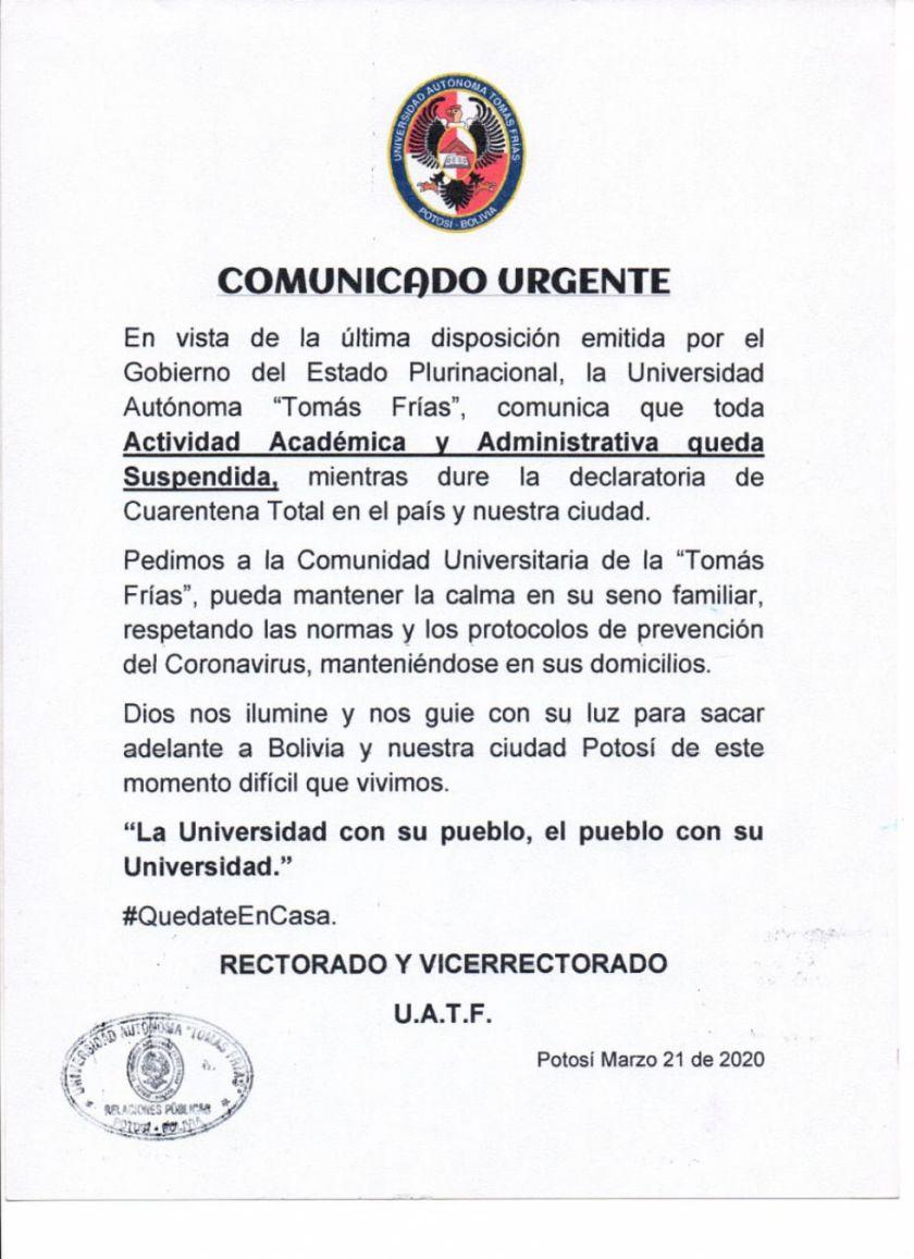 La UATF suspende toda su actividad académica y administrativa