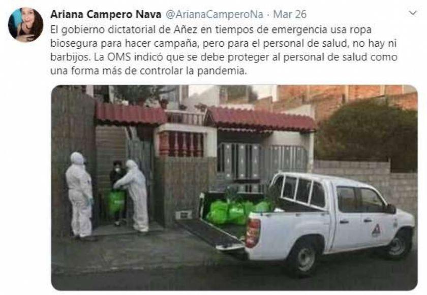 Exministra de Salud usa una foto de Ecuador para atacar al Gobierno de Áñez