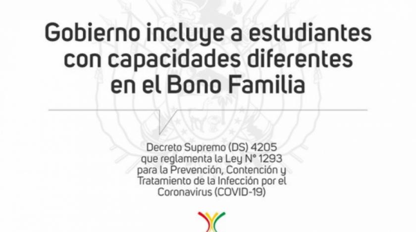 Gobierno regula uso de recursos por el COVID-19 y amplía el Bono Familia