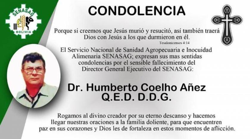 Fallece el director general del Senasag por COVID-19