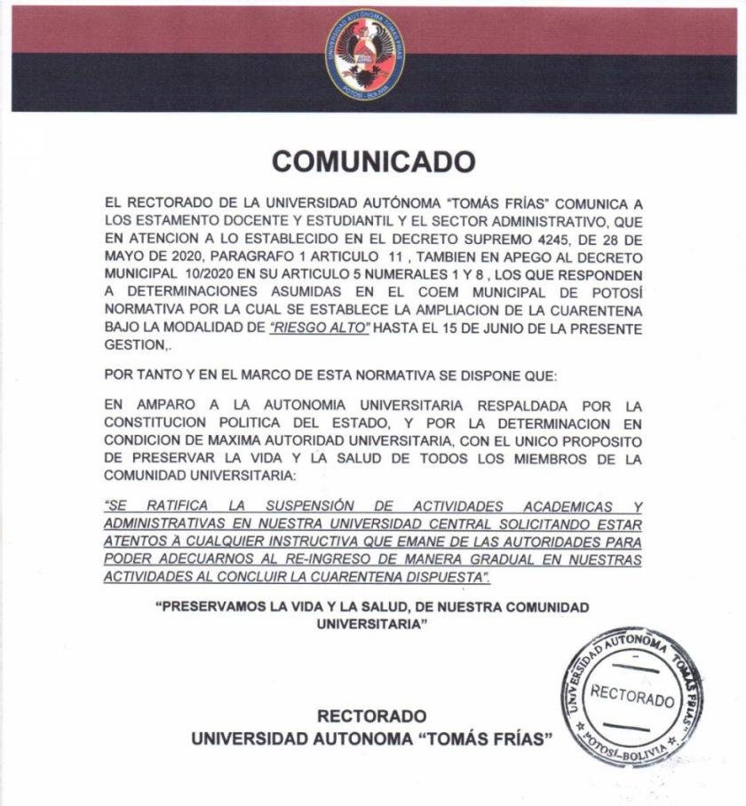 La UATF mantiene suspensión de actividades