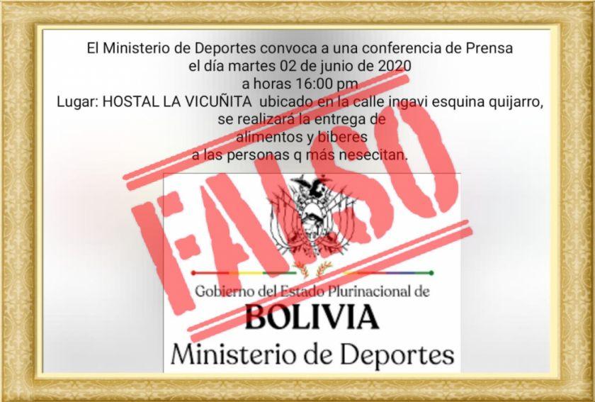Invitación con errores atribuida al Ministerio de Deportes es falsa