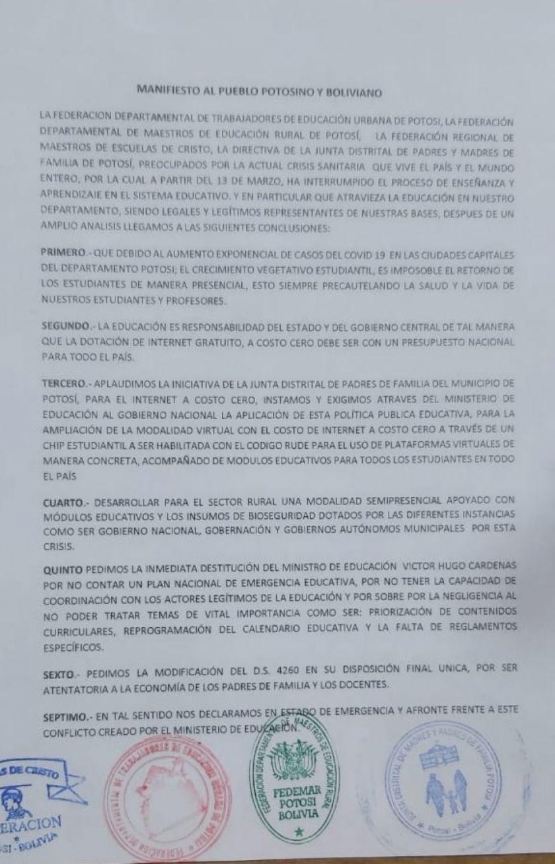 Padres de familia y maestros en Potosí piden la renuncia del ministro de Educación