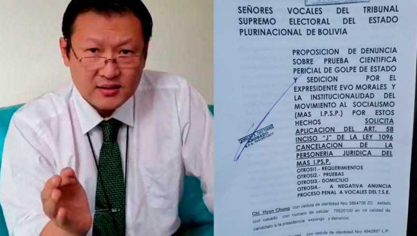 Chi pide al TSE aplicar la Ley 1096 y cancelar personería del MAS por sedición