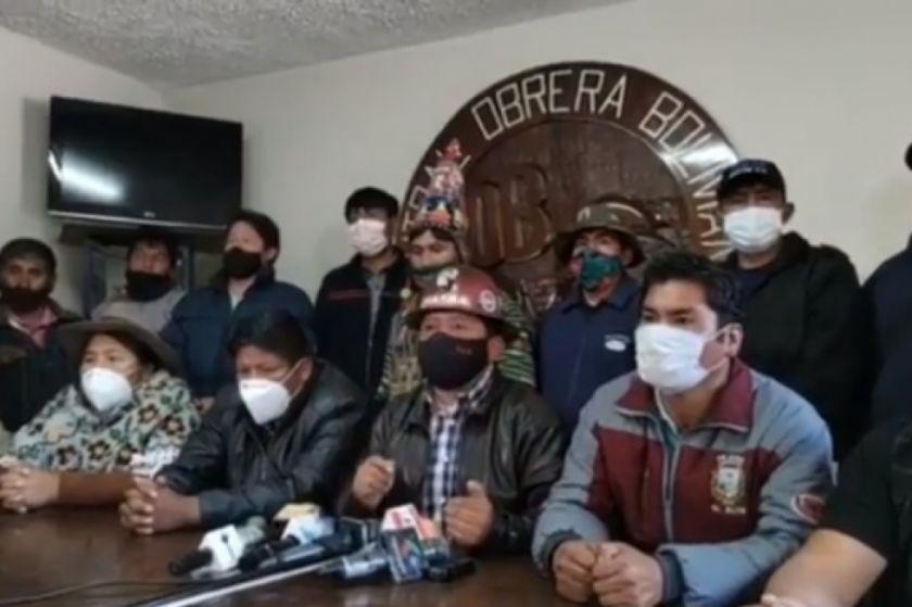 """La COB y el Pacto de Unidad denuncian internacionalmente las """"amenazas"""" de represión"""