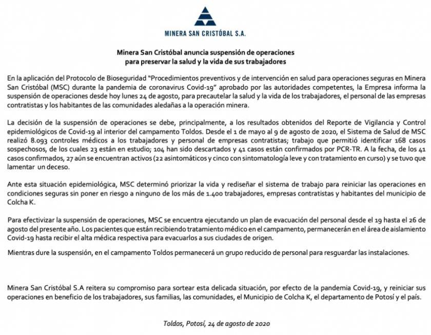 Minera San Cristóbal anuncia suspensión de operaciones