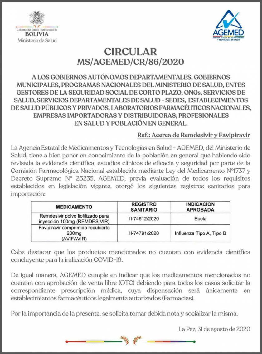 El Ministerio de Salud otorga registro sanitario para Avifavir y Remdesivir