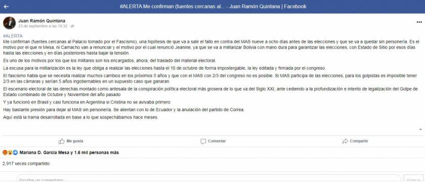 Supuestos mensajes de Juan Ramón Quintana son de una cuenta satírica