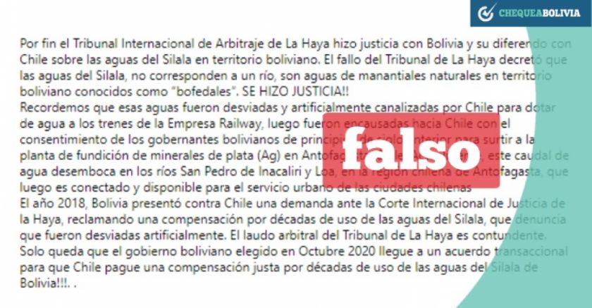 Circula publicación falsa acerca de fallo sobre las aguas del Silala