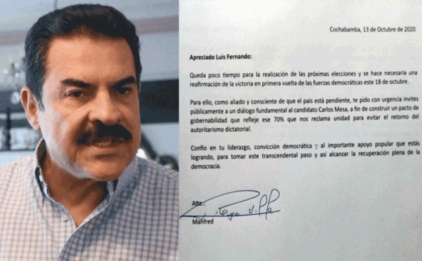 Reyes Villa le pide a su aliado Camacho que pacte con Carlos Mesa