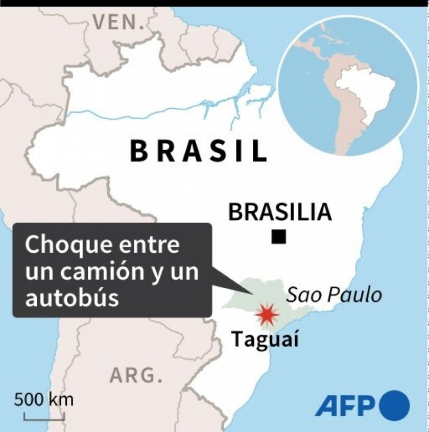 Reportan choque de camión con autobús en Brasil que dejó 41 muertos