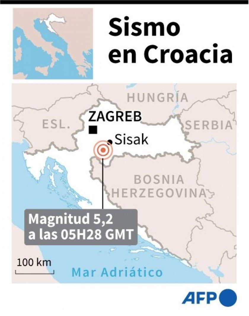 Reportan daños en edificios por un sismo de magnitud 5,2 en Croacia