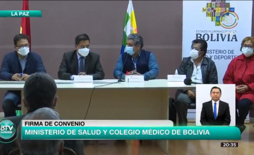 El Colegio Médico de Bolivia firma acuerdo con el Gobierno sobre la Ley de Emergencia Sanitaria
