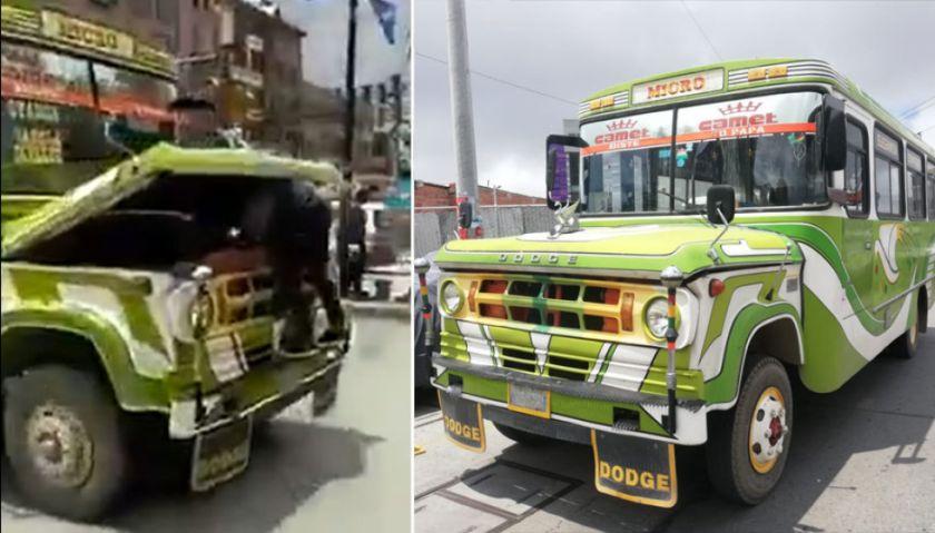 La Paz: Tránsito retiene al microbús que se hizo viral por circular con capó abierto