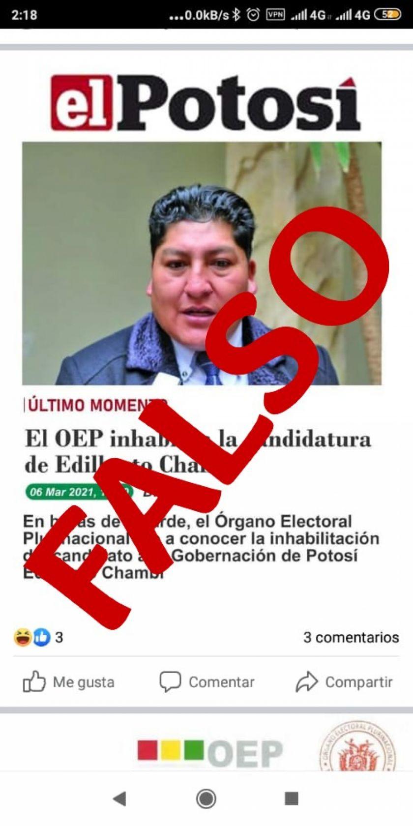 Circula captura de noticia falsa atribuida a El Potosí