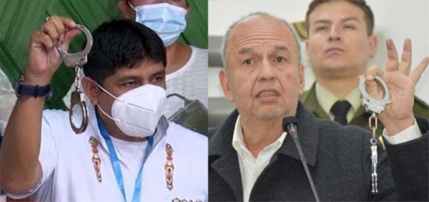 Con esposas en mano, un diputado del MAS emula a Murillo y dice que llevará a la cárcel los 'golpistas'