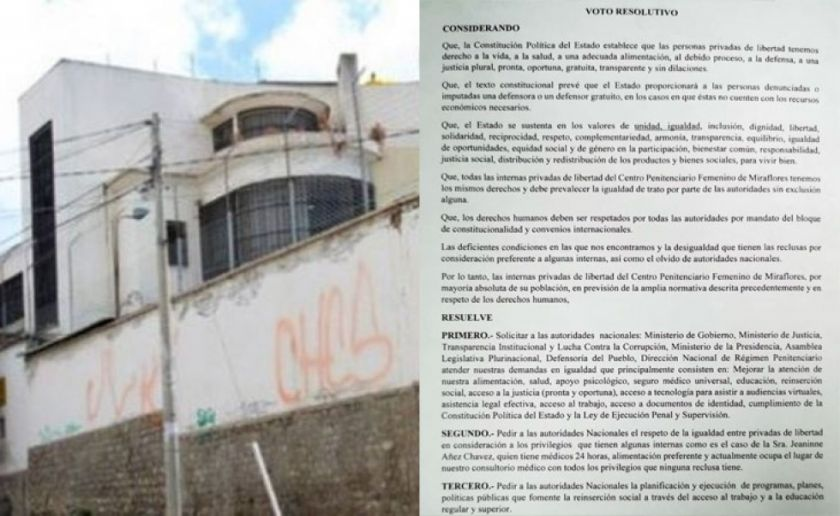 Reclusas de la cárcel de Miraflores piden 'igualdad' respecto a los 'privilegios' de Añez