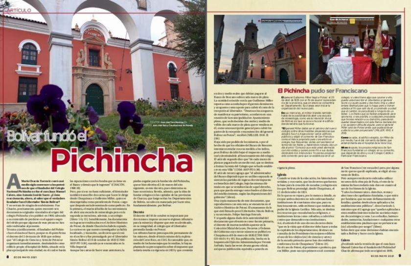 Ecos publica un artículo que dice que el Pichincha fue fundado por Simón Bolívar