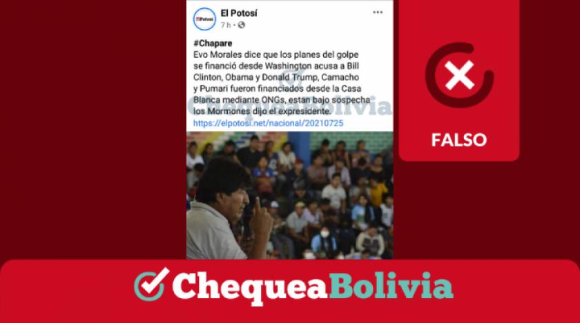 """El Potosí no publicó una nota en la que Evo Morales cita una lista de personas que intervinieron en los """"planes de golpe"""""""
