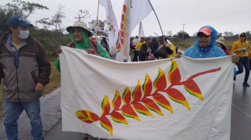 """""""Estamos cansados de los avasallamientos de los colonos"""": indígenas continúan la marcha a Santa Cruz"""