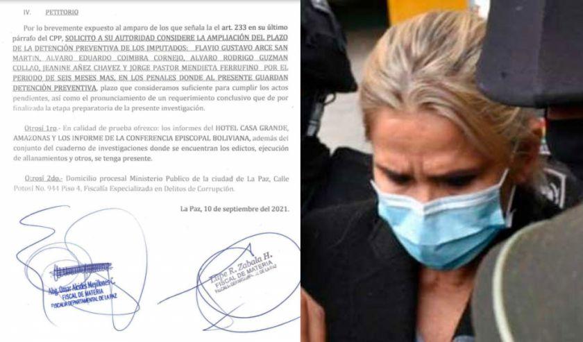 Fiscalía formuló solicitud para ampliar la detención de Añez y otros implicados en caso 'golpe' por seis meses más