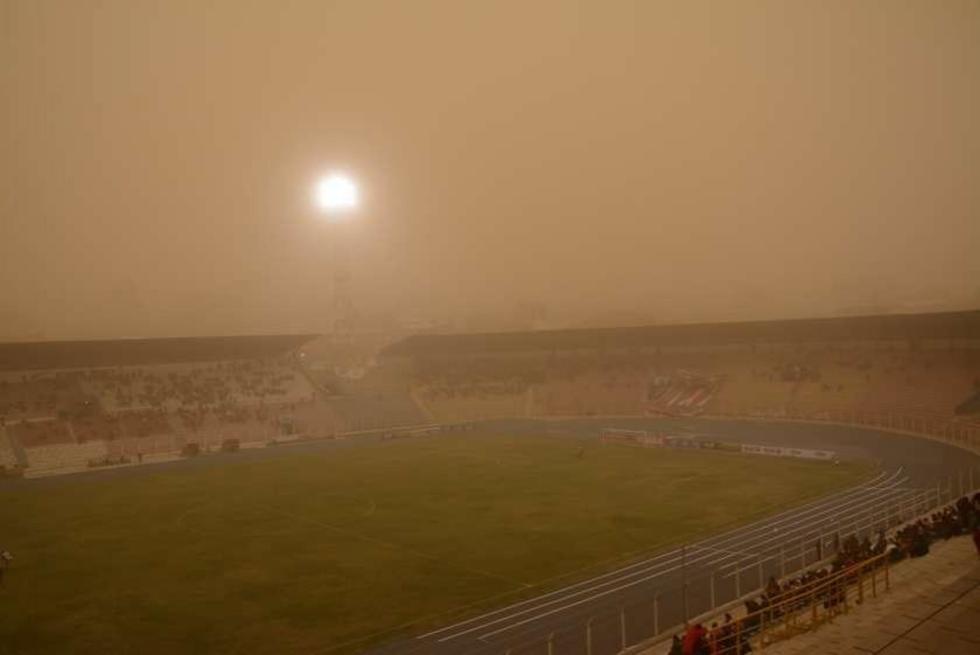 Panorama general del estadio: vientos y tierra.