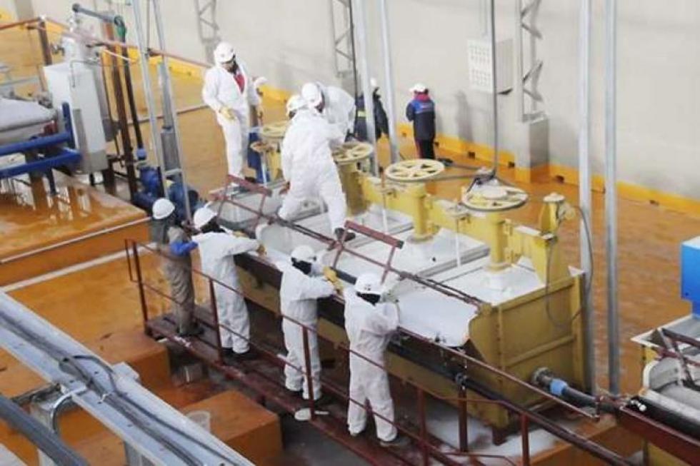 La planta experimental de producción de carbonato de litio.