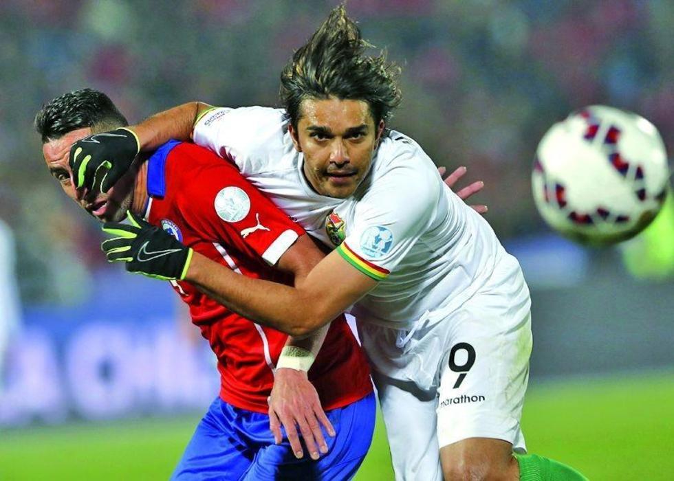 El jugador Marcelo Martins en el cotejo ante Chile.