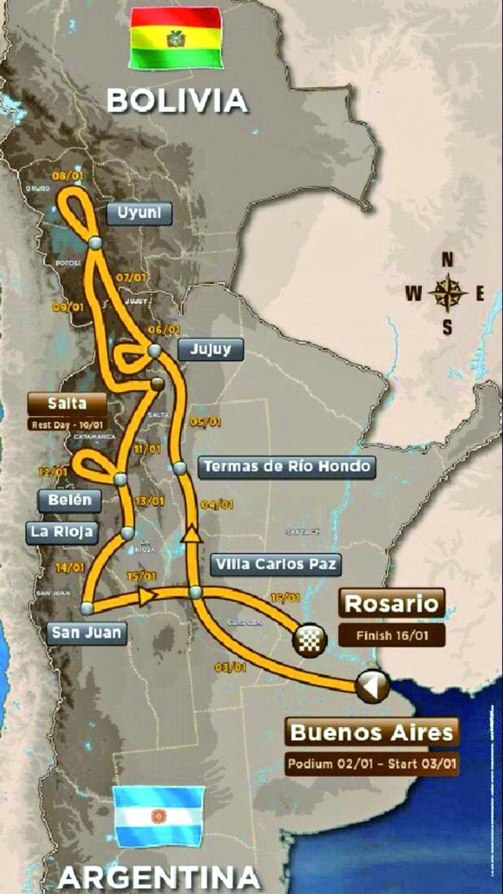 la ruta oficial de la competencia.