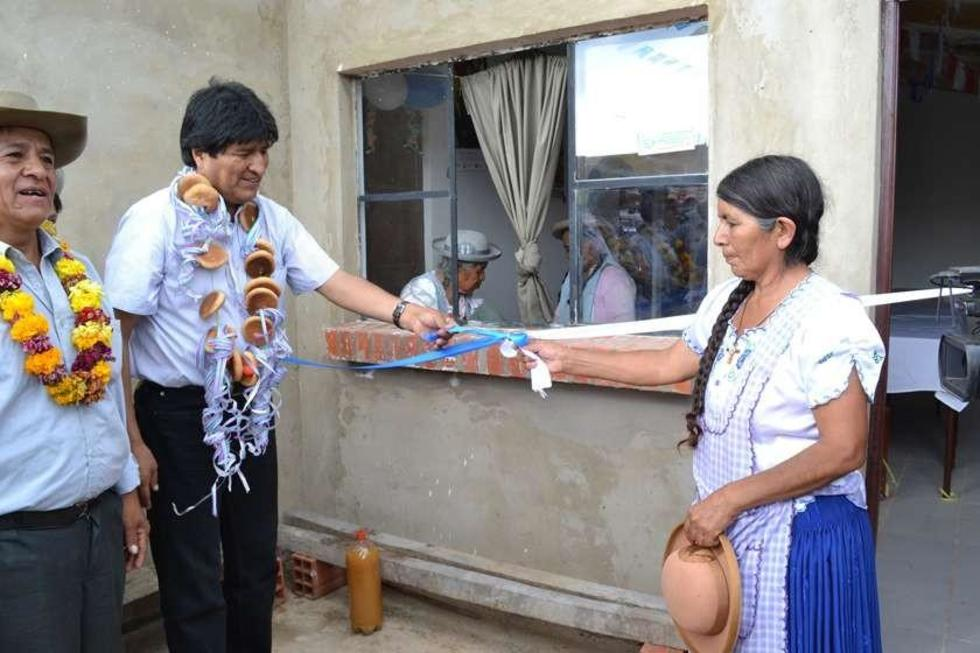 Evo Morales entrega 300 viviendas en la provincia Cercado de Tarija, acto transmitido por BTV.