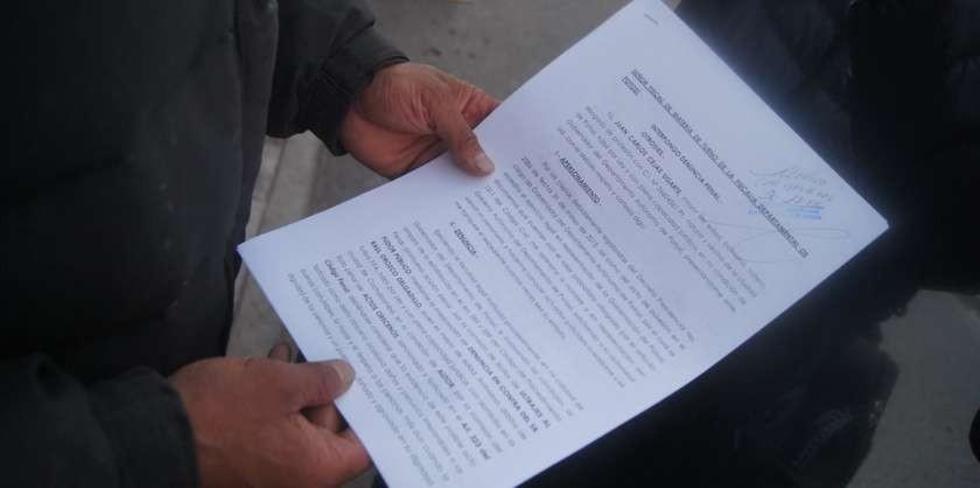 El documento que fue presentado a la Fiscalia de Potosí.