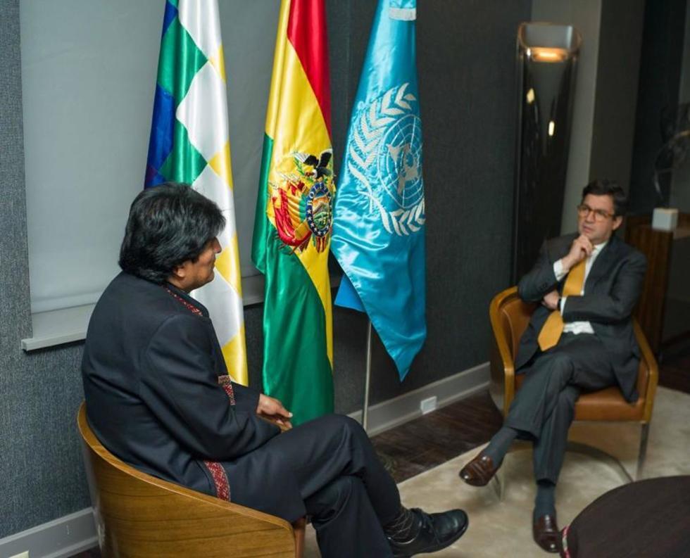Evo Morales y Luis Alberto Moreno, presidente del BID.