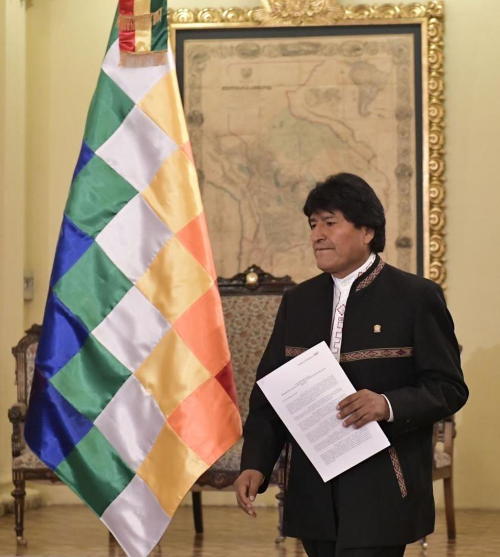 El presidente Evo Morales en conferencia de prensa.